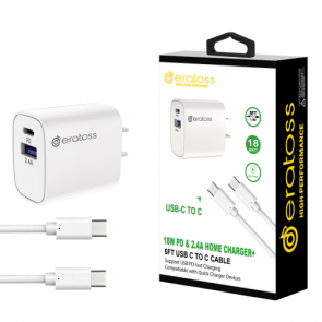 18W PD&2.4A Home Charger + 5FT USB-C TO C Cable