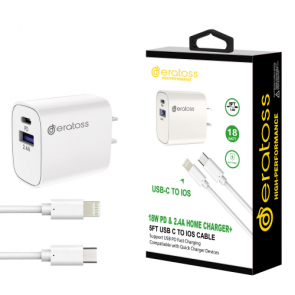 18W PD&2.4A Home Charger + 5FT USB C TO IOS Cable