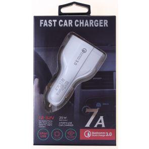 3 Port USB Car Charger 7A QC 3.0, Qualcomm LZ-368