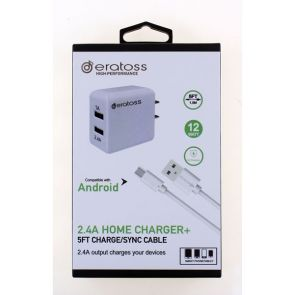 2-Port Home Charger with Package, 2.4A_V9 5FT, eratoss HAA2.4