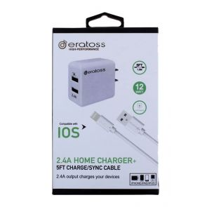 2-Port Home Charger with Package, 2.4A_IOS 5FT, eratoss HAA2.4